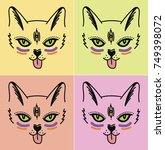 cute funny cat vector... | Shutterstock .eps vector #749398072