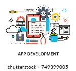modern flat editable line... | Shutterstock .eps vector #749399005