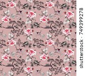 seamless floral pattern with... | Shutterstock . vector #749399278