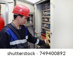 electromechanic in electrical... | Shutterstock . vector #749400892
