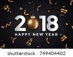 abstract happy new year 2018 ... | Shutterstock .eps vector #749404402