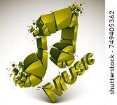 3d vector green shattered... | Shutterstock .eps vector #749405362