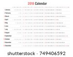 yearly wall calendar template... | Shutterstock .eps vector #749406592