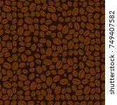 brown seamless pattern. coffee...   Shutterstock .eps vector #749407582