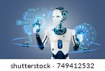 robot cybernetic organism works ... | Shutterstock . vector #749412532
