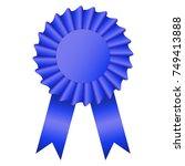 blank blue color rosette award...   Shutterstock .eps vector #749413888