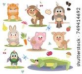 vector set illustration of cute ... | Shutterstock .eps vector #749414692