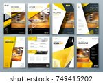 cover design set. yellow... | Shutterstock .eps vector #749415202