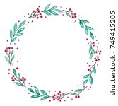 watercolor wreath for christmas ... | Shutterstock . vector #749415205