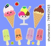 a set of different ice cream in ... | Shutterstock . vector #749415415