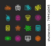 Game Neon Icon Set  Vector...