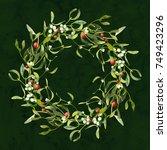 christmas wreath with mistletoe ... | Shutterstock . vector #749423296