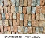 red brick background old... | Shutterstock . vector #749423602