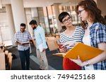 young attractive students... | Shutterstock . vector #749425168