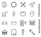 thin line icon set   touch ... | Shutterstock .eps vector #749434342