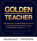 gold metallic font set. letters ... | Shutterstock .eps vector #749434546