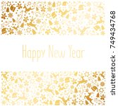 happy new year 2018 and merry... | Shutterstock .eps vector #749434768