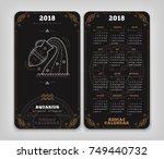 aquarius 2018 year zodiac... | Shutterstock .eps vector #749440732
