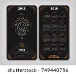 virgo 2018 year zodiac calendar ... | Shutterstock .eps vector #749440756