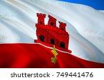 gibraltar flag. flag of... | Shutterstock . vector #749441476