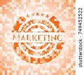 marketing orange mosaic emblem   Shutterstock .eps vector #749452522