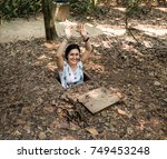 Tourist at the entrance of Cu Chi Tunnels