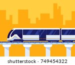 passenger express train. subway ... | Shutterstock .eps vector #749454322