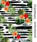 decorative colorful stripe palm ... | Shutterstock .eps vector #749460922