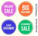vector big sale round circle... | Shutterstock .eps vector #749463226