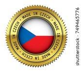 made in czech golden badge with ... | Shutterstock .eps vector #749465776
