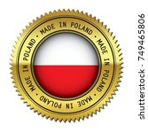 made in poland metal golden... | Shutterstock .eps vector #749465806
