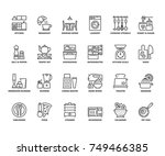 line icons about kitchen.... | Shutterstock .eps vector #749466385