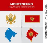 montenegro map  flag and... | Shutterstock .eps vector #749467906