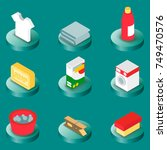 laundry flat isometric icons.... | Shutterstock .eps vector #749470576