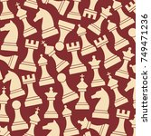 background pattern with chess... | Shutterstock .eps vector #749471236
