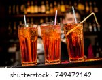 cocktails in glass jars  stand... | Shutterstock . vector #749472142