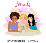 friends a group of smiling...   Shutterstock .eps vector #749473
