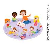 kindergarten kids and teacher... | Shutterstock .eps vector #749478772