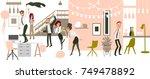 happy people  men and women ... | Shutterstock .eps vector #749478892