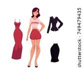vector flat cute girl  woman in ... | Shutterstock .eps vector #749479435