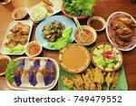 vietnam food grilled pork balls ... | Shutterstock . vector #749479552