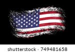 vector grunge flag of usa on... | Shutterstock .eps vector #749481658