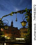 Small photo of beautiful night at Venice, Italy with crescent moo and lantern