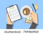 business plan writing. female... | Shutterstock .eps vector #749483965