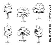 set of  hand drawin sketch trees | Shutterstock .eps vector #749498005