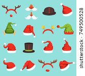 hats of different christmas... | Shutterstock .eps vector #749500528