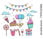 cute birthday party icons with... | Shutterstock .eps vector #749510386