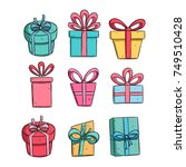 set of colorful gift box with... | Shutterstock .eps vector #749510428
