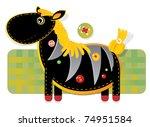 Cheerful applique fabric with zebra - stock photo