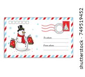 christmas envelope with cute... | Shutterstock .eps vector #749519452